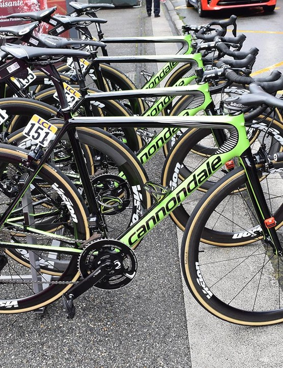 Each EF-Drapac rider used a Cannondale SuperSix on stage 2 of the Criterium du Dauphine