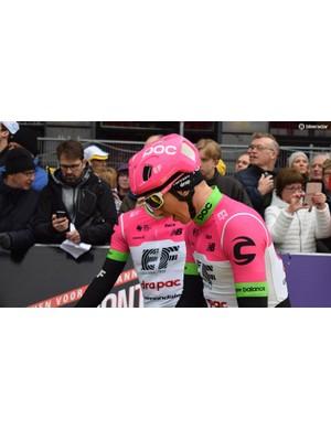 Sep Vanmarcke was wearing the new POC Ventral helmet
