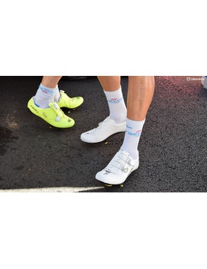 The new S-Works 7 shoes were also seen in an all-white finish at the race