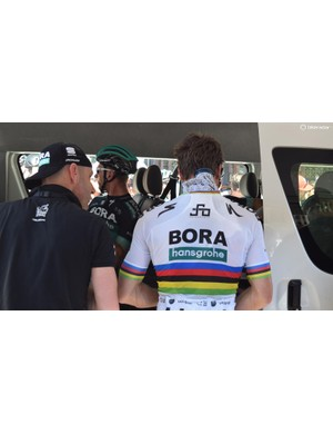 World champion Peter Sagan cools down with an ice pack ahead of the race