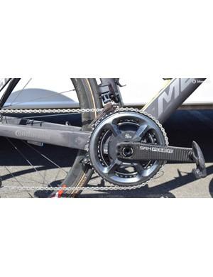 Nibali's bike uses an SRM Origin crankset with Shimano Dura-Ace R9100 chainrings