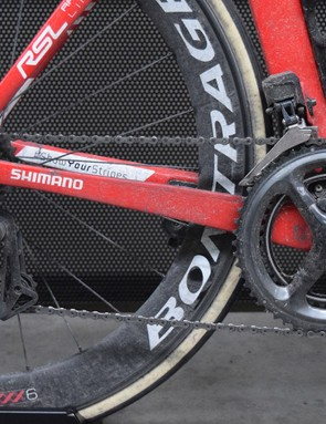 The bike was equipped with a full Shimano Dura-Ace R9150 drivetrain, including the Shimano R9100-P power meter