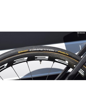 25mm wide Continental Competition ALX tubular tyres are a popular choice in the WorldTour peloton