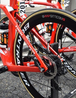 The frameset appears to have larger chain and seat stays than the rim brake version of the frame, likely due to the extra braking forces exerted from a disc brake system