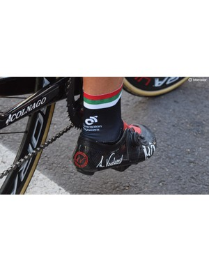 UAE Team Emirates rider Roberto Ferrari wears shoes from Italian company Verducci