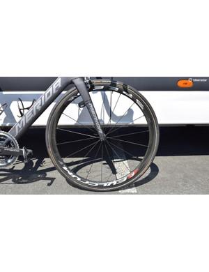 A look at Nibali's front wheel