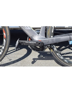 Another Shimano Dura-Ace brake, located underneath the bottom bracket for improved aerodynamics provides the stopping power on the rear wheel