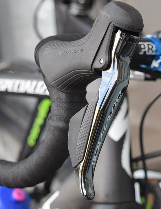 As with the majority of the WorldTour peloton, Quick-Step Floors uses Shimano Dura-Ace R9100 series levers
