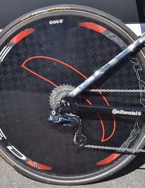 Bahrain-Merida uses Fulcrum Speed 360T rear disc wheels