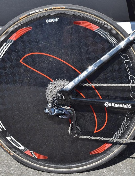 Bahrain-Merida uses Fulcrum Speed 360T rear disc wheels