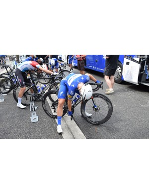 Fabio Jakobsen and Bob Jungels were the two Quick-Step Floors riders on the new bikes