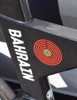 The Bahrain-Merida logo and bold decals adorn the seat cluster on the frameset