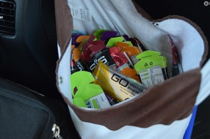 A musette full of energy gels is on hand for ease of access