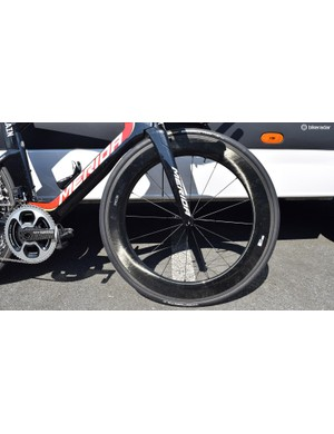 Nibali uses an unbranded Fulcrum 55T AC3 front carbon wheel