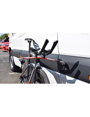 A look at the front profile of Nibali's Merida Time Warp TT