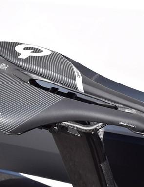 Nibali pairs his Time Warp TT with the short Prologo Dimension Nack saddle