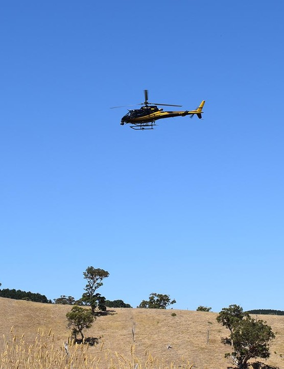 Two helicopters follow the Tour Down Under providing live television coverage of the race