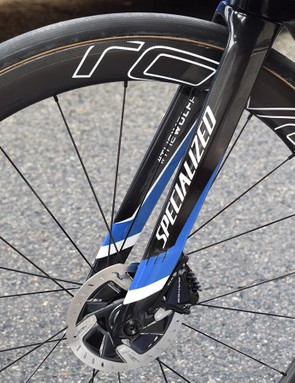 Jungels' bike ran Shimano Dura-Ace disc rotors at the front and non-series rotors at the rear