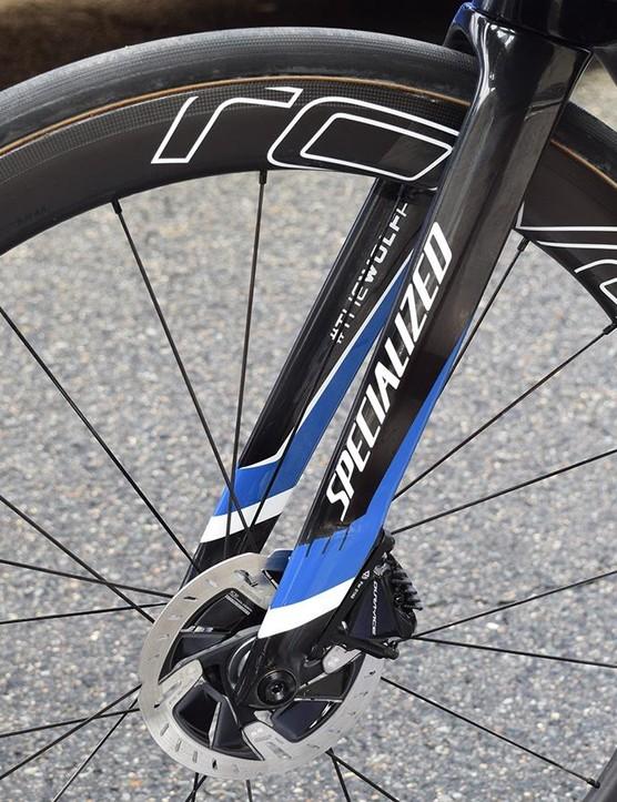 Jungels' bike ran Shimano Dura-Ace disc rotors at the front and non-series rotors at the rear