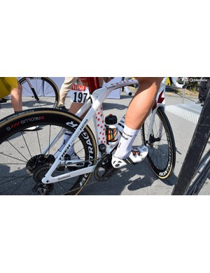 Toms Skujins, who wore the polka dot jersey earlier in the race, had a special finish given to his Trek Madone Disc