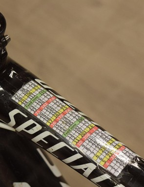 Boonen's race notes from Paris-Roubaix 2012 are still stuck to the top tube