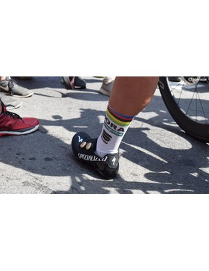 Peter Sagan's Sportful socks also feature the rainbow stripes of the world champion