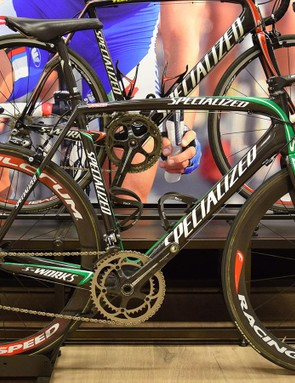 Tom Boonen's 2007 Specialized S-Works Tarmac that was ridden at the Tour de France to win the green points jersey