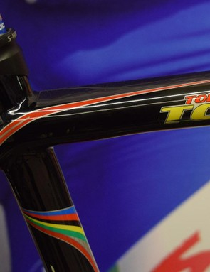 Boonen's world champion rainbow and nicknames adorn his bikes