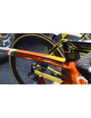 Personal chrome decals for Chavanel are overlaid onto the Ramato paint scheme