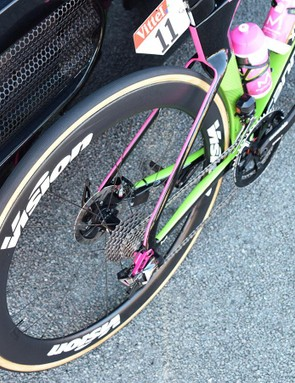 Flashes of fluoro pink on the rear faces of the frameset tubing will make it easier to find a teammate's wheel in the bunch