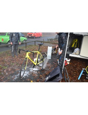 One of Toon Aerts' bikes gets jet washed ahead of the Men's Elite race