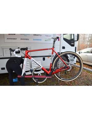 Alongside Mathieu Van der Poel's stock Stevens Super Prestige bikes, the former world champion has two custom framesets