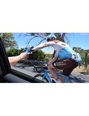 The riders also dropped back occasionally to top up the the sunscreen throughout the stage