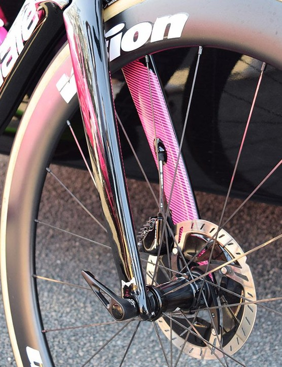 The front brake's hydraulic-brake hose is routed internally through the left-hand fork leg