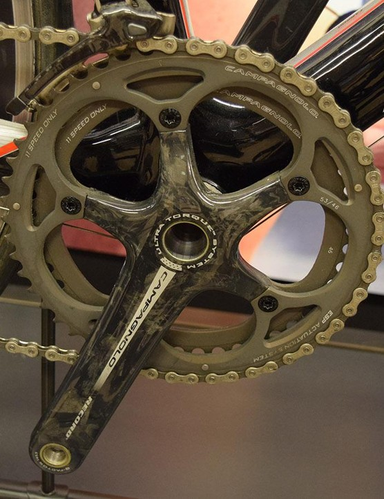 A 53/46 front chainring combination is perfect for the mostly flat Paris-Roubaix parcours