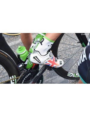 British road and time trial champion wears his custom Gaerne shoes