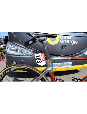 Chavanel's race number plate commemorates the three stage victories the Frenchman has had over his eighteen Tours de France