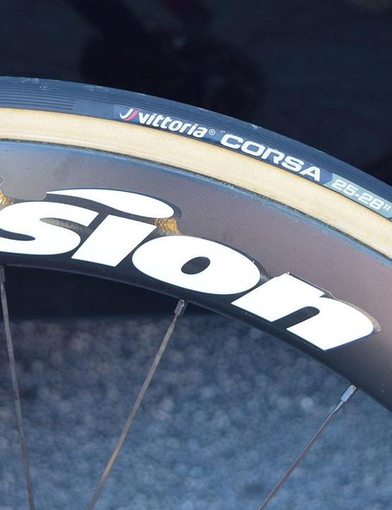 25mm Vittoria Corsa tubular tyres are a common tyre choice within the Tour de France peloton