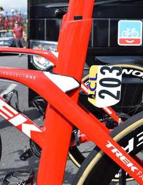 The Trek Madone Disc retains the flexing, integrated seat post from the current iteration of the bike