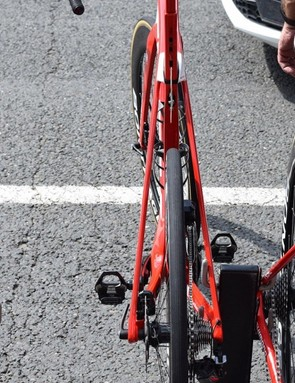 The removal of the rear rim brake at the top of the seat stays vastly reduces the clutter at the rear end of the bike