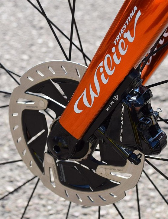 Chavanel, along with several riders who are using disc brakes during the Tour de France, has opted for 140mm rotors front and rear