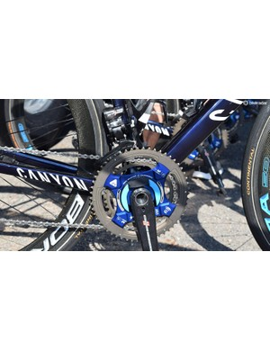 Valverde's Power2Max Campagnolo power meter crankset was equipped with 54/42 chainrings for the flatter opening stages of the Tour de France