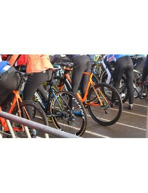 Giant CXR 0 tubular wheels were used by a handful of riders
