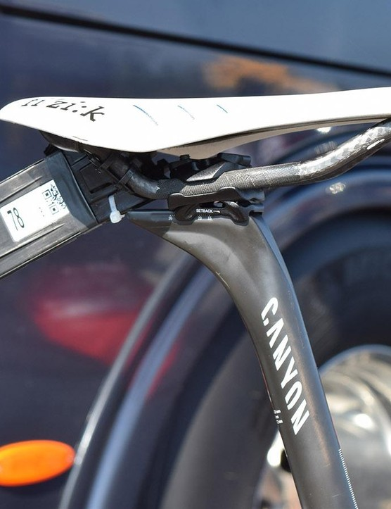 InterestingValverde ran a set-back seatpost but positioned the saddle forward beyond the safety limits