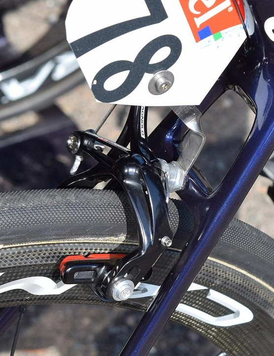 A closer look at the Campagnolo Super Record rim brakes with rim-specific brake pads