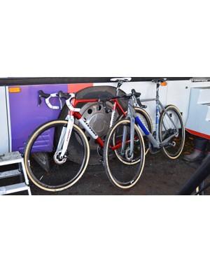 Van der Poel's custom bikes commemorating his European title and World Cup lead