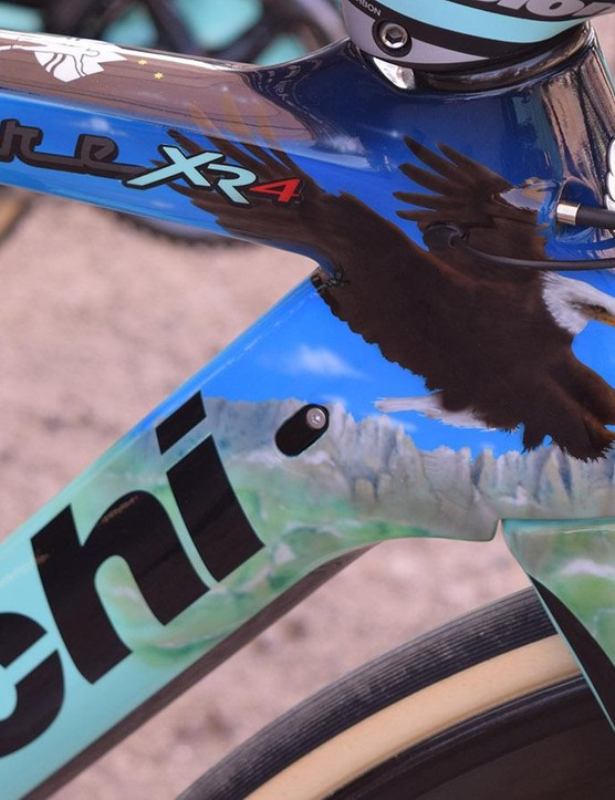 A bald eagle flying over the Galibier represents Roglič's stage victory at the 2017 Tour de France