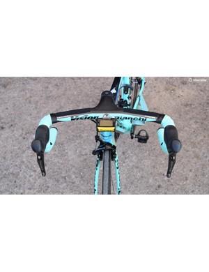 The famous Bianchi celeste blue dominates the bike's colours