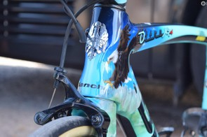 The iconic Bianchi head tube badge is retained at the front of the bike