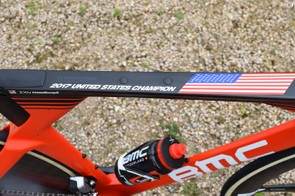 Unlike other national champions, Rosskopf's time trial bike has a subtle customisation on the top tube